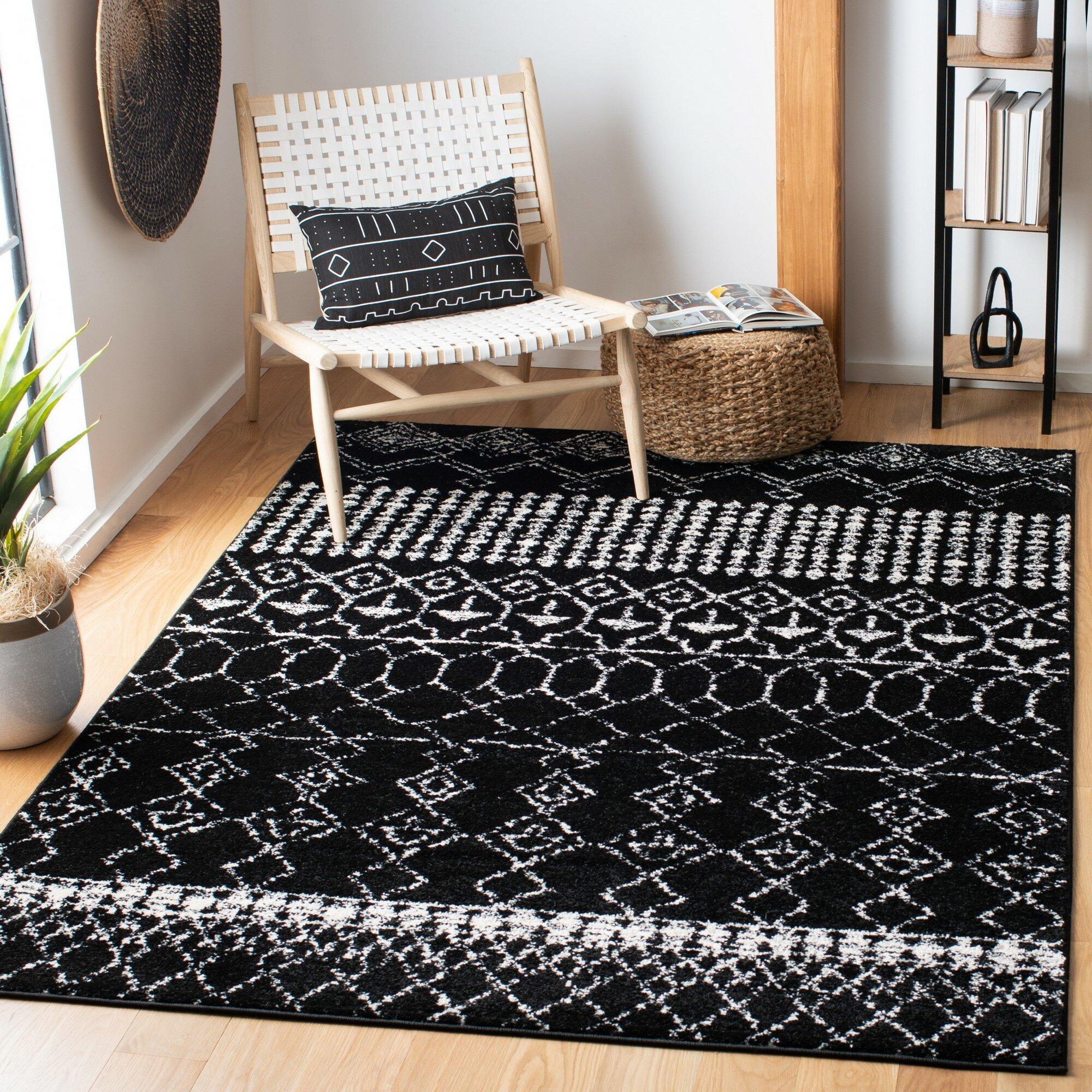 Foundry Select Cobos Geometric Black Area Rug Reviews Wayfair