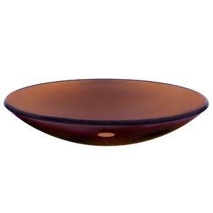 Novatto In Basso Glass Circular Vessel Bathroom Sink