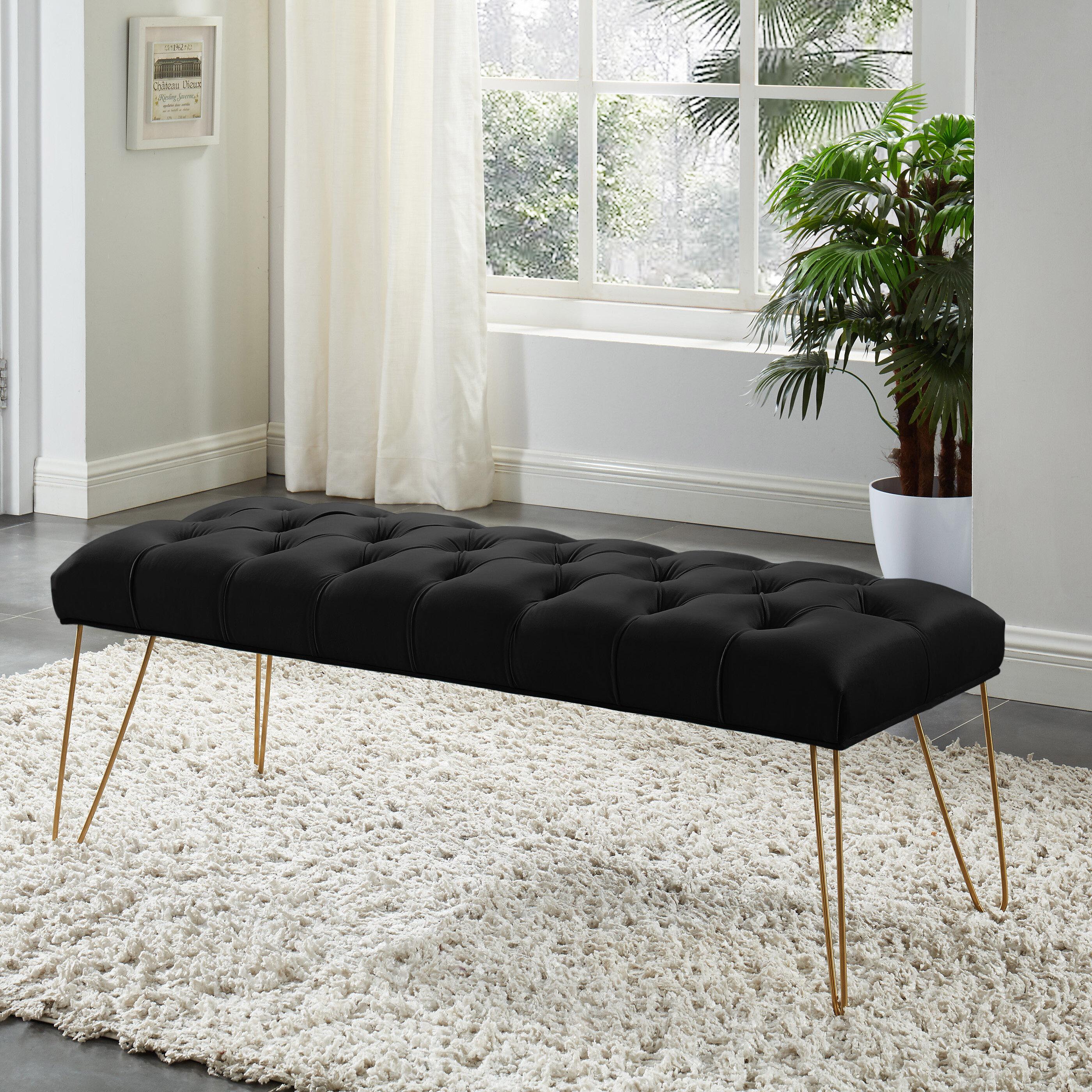 Mercer41 Chadron Bench With Gold Colored Legs Black Velvet Reviews Wayfair