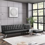 Alexis-Mae 100'' Faux Leather Left Hand Facing Convertible Sofa & Chaise by Ebern Designs