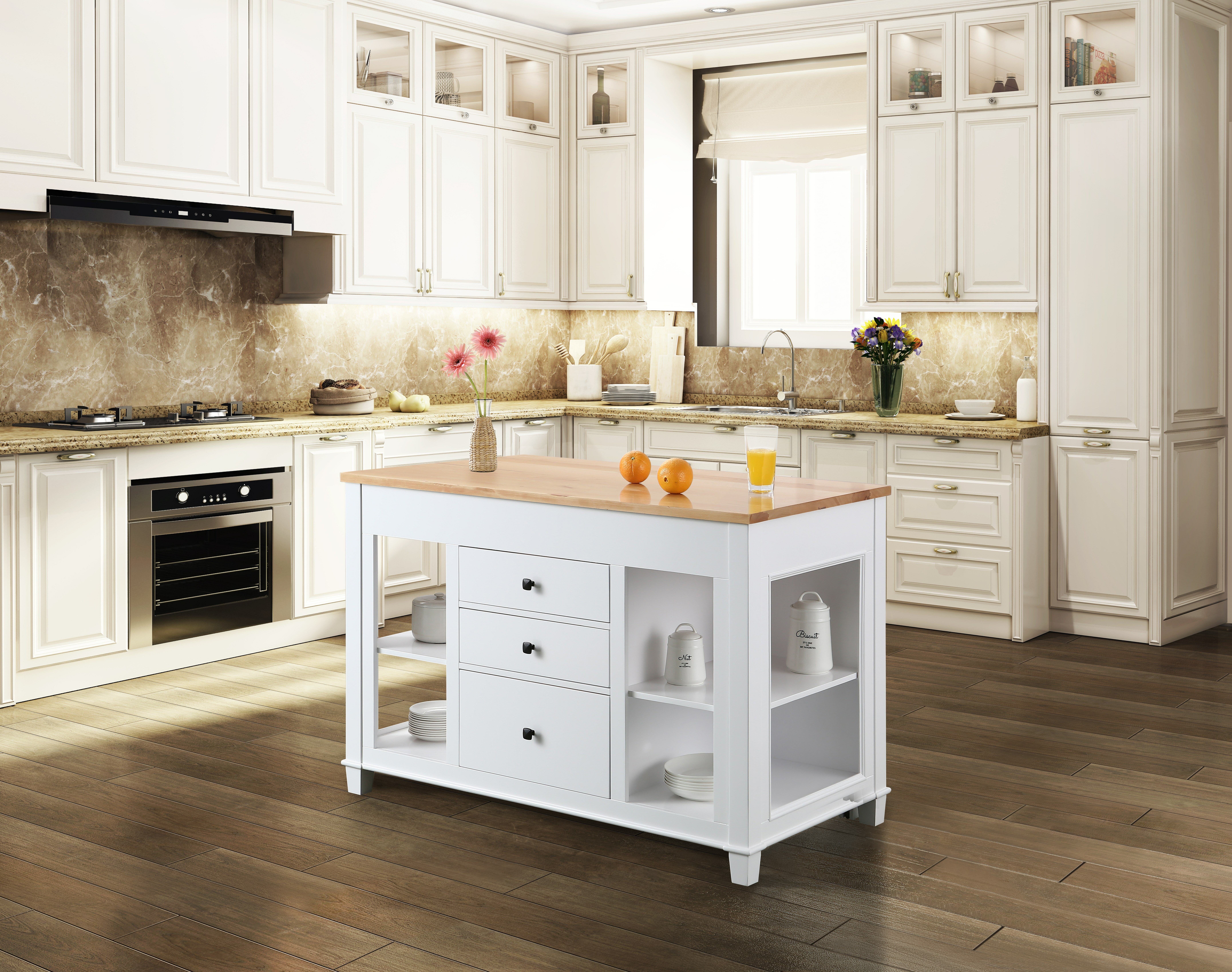 August Grove Medley 54 In Kitchen Island With Slide Out Table In Grey Wayfair Ca
