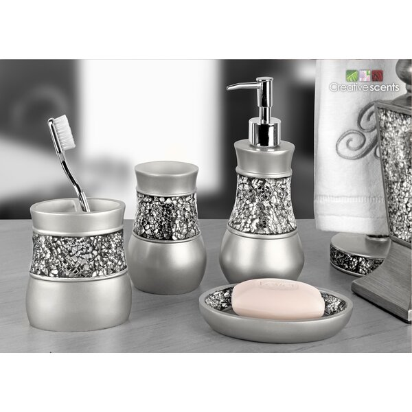 Everly Quinn Rabin Brushed Nickel 4 Piece Bathroom Accessory Set