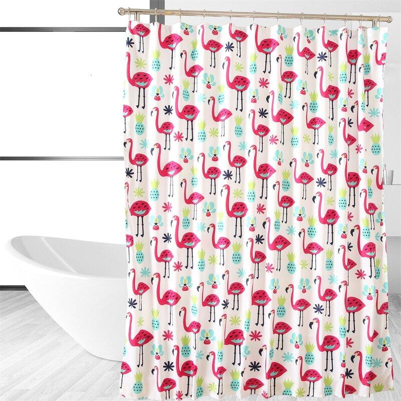 Affluence Home Fashions Flamingo Single Shower Curtain