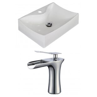 Online Reviews Ceramic Rectangular Vessel Bathroom Sink with Faucet and Overflow ByAmerican Imaginations