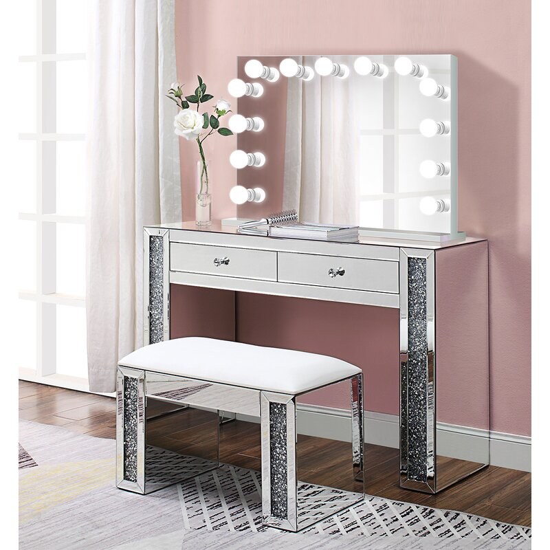 Everly Quinn Alday Glam Diamonds Makeup Station Vanity Set With
