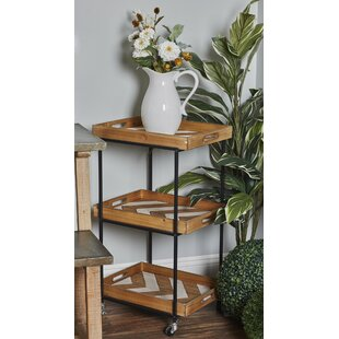Dounton Traditional 3-Tiered Chevron Bar Cart by Union Rustic