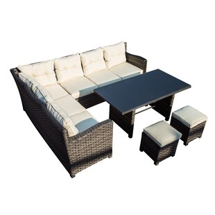Vanhoy 5 Piece Rattan Sofa Seating Group with Cushions