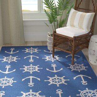 Jessa Nautical Schooner Blue White Indoor Outdoor Area Rug