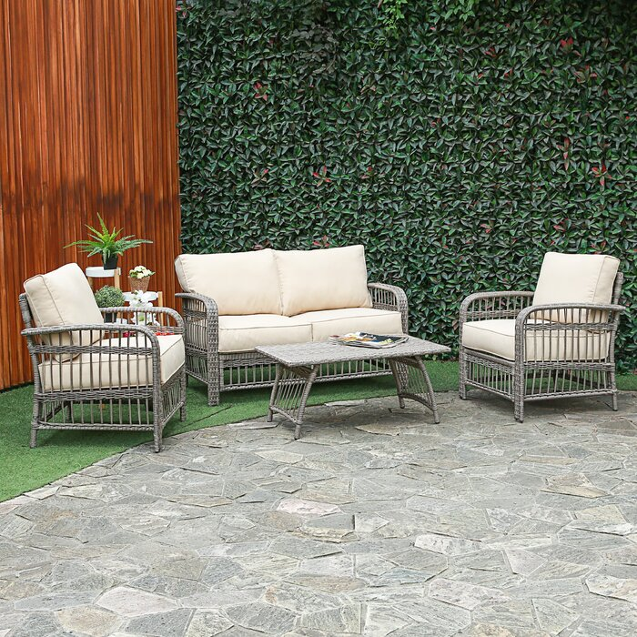 Terrific Rona 4 Piece Rattan Sofa Seating Group With Cushions Evergreenethics Interior Chair Design Evergreenethicsorg