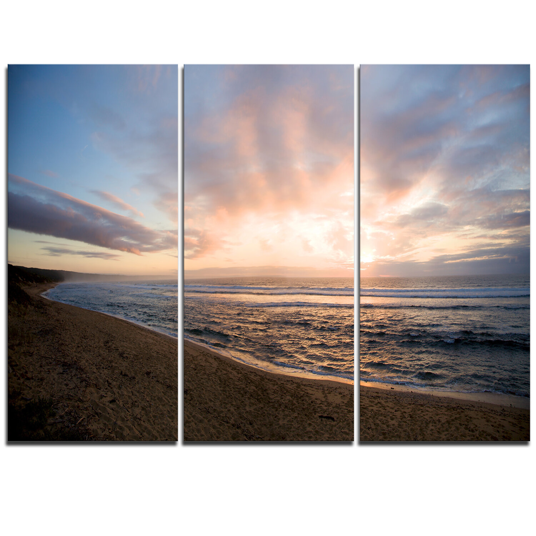 Designart Sunrise Over Indian Ocean Waters 3 Piece Photographic Art On Wrapped Canvas Set Wayfair