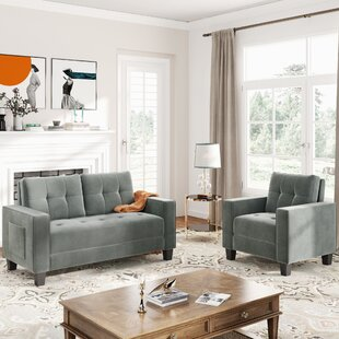 Sofa Set Morden Style Couch Furniture Upholstered Armchair, Loveseat And Three Seat For Home Or Office (Chair+Loveseat) by Latitude Run