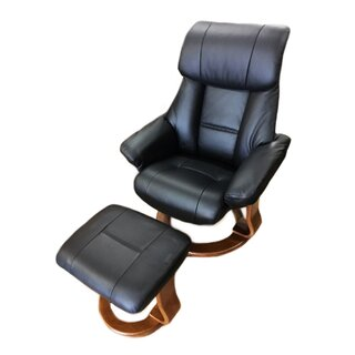 Alfredo Leather Manual Swivel Recliner with Ottoman by World Source Design SKU:AD938614 Check Price