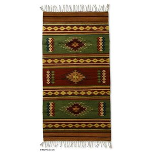 Zapotec Hand-Loomed Green Area Rug