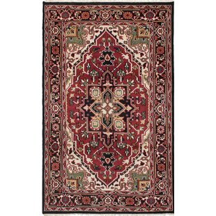 Price Check One-of-a-Kind Grullon Hand-Knotted Red/Black Area Rug By Isabelline