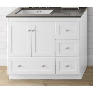 Shaker 36 Bathroom Vanity Cabinet Base In White Wood Doors On Left