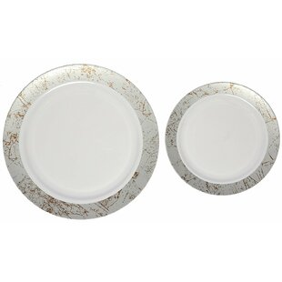 Marble Premium Heavyweight Plastic Disposable Plate Set  sc 1 st  Wayfair : disposable serving plates - pezcame.com