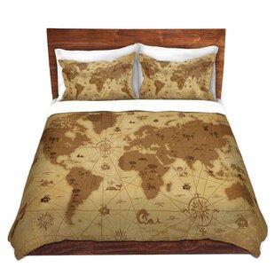 DiaNoche Designs Whimsical World Map I Duvet Set