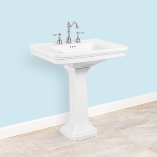 Ceramic 30 Pedestal Bathroom Sink with Overflow By Winfield products