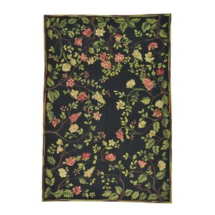 Read Reviews One-of-a-Kind Glenville Modern Botanical Oriental Hand-Knotted Black Area Rug ByCharlton Home