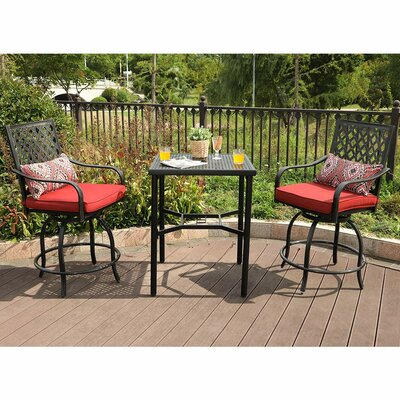 Stockwell Outdoor 3 Piece Bistro Set With Cushions by Charlton Home #2
