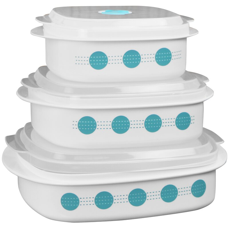 South Beach Microwave Cookware 3 Container Food Storage Set