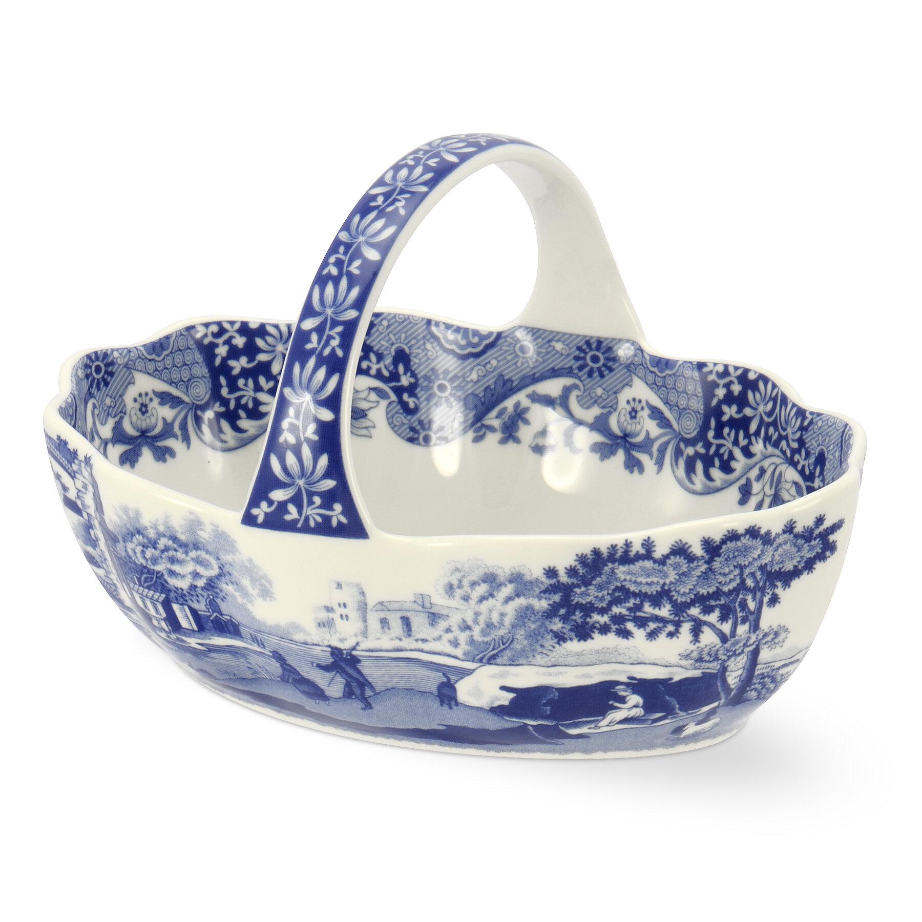 Spode Blue Italian Handled Basket Decorative Bowl Birch Lane