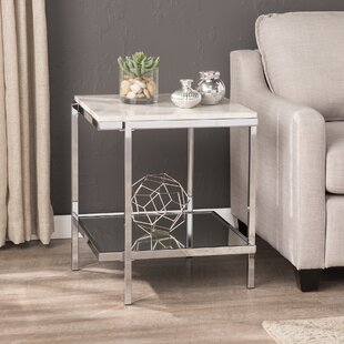 Affordable Price Skipton Faux Marble End Table By Everly Quinn