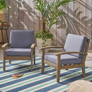 Claytor Patio Chair with Cushions (Set of 2)
