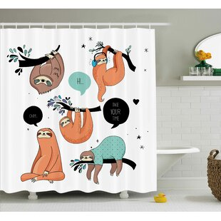 Lottie Smiling Sloth Cartoon Shower Curtain ByZoomie Kids