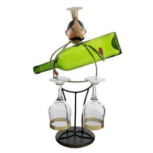 Luann Happy Chef Wine and Glass Holder 1 Bottle ..