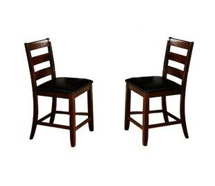 Winston Porter Edgar Ladder Back Wooden Pub with Footrest Upholstered Dining Chair (Set of 2)