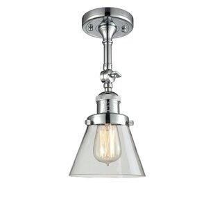 Ebern Designs Funchess Glass Cone 1-Light Semi Flush Mount