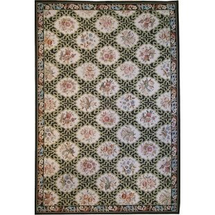 Savings One-of-a-Kind Aubusson Hand-Woven Wool Beige/Black/Pink Area Rug By Pasargad