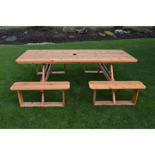 August Grove Bercht Wooden Picnic Table