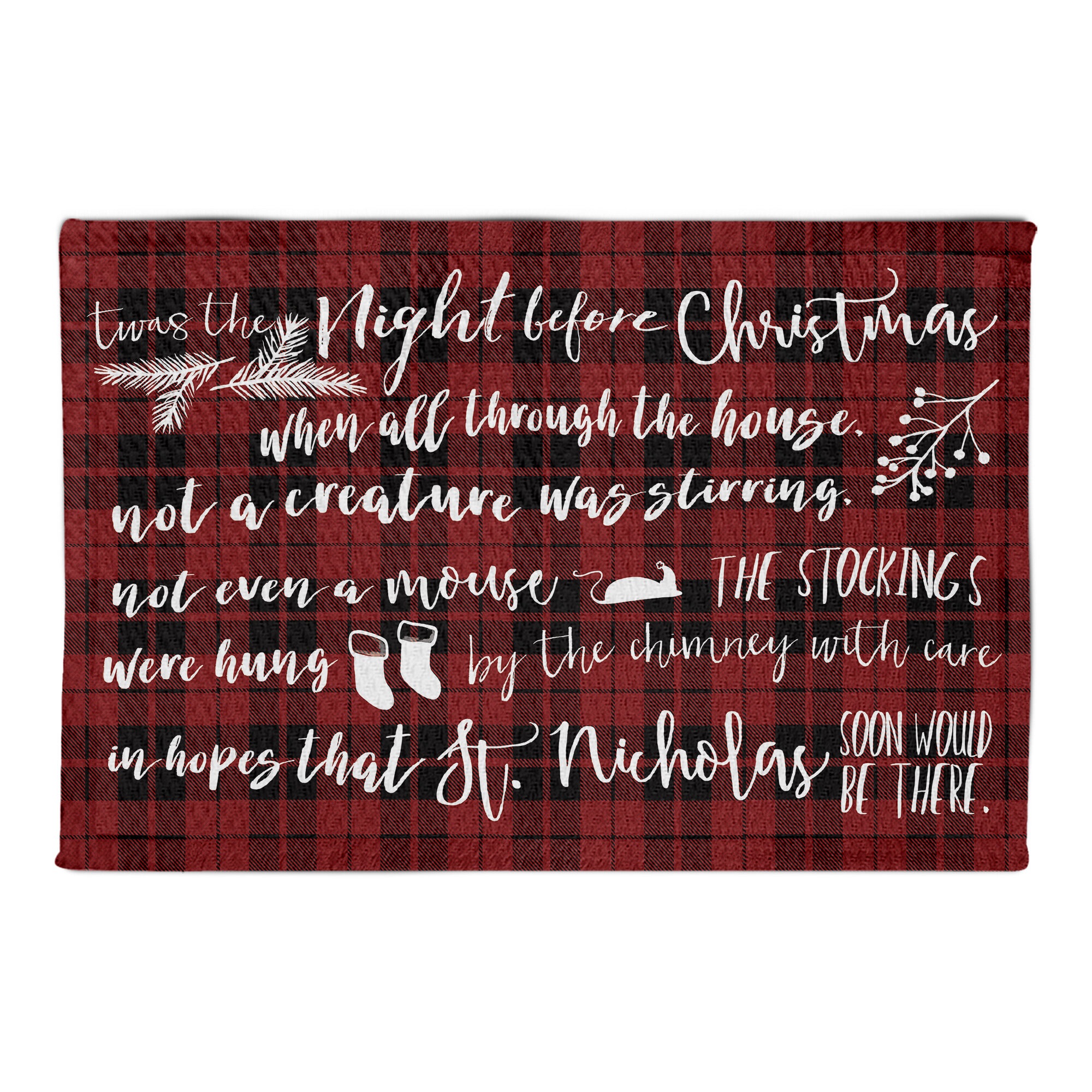 The Holiday Aisle Valmar Twas The Night Before Christmas Red Area Rug Reviews Wayfair