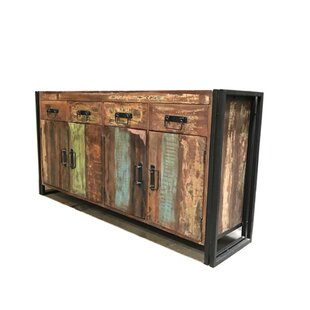 Valeria Old Reclaimed Wood and Iron 4 Door 4 Drawer Sideboard by Breakwater Bay