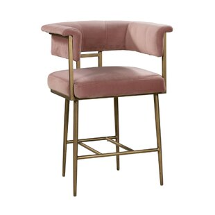 Claudette Velvet Bar Stool Everly Quinn