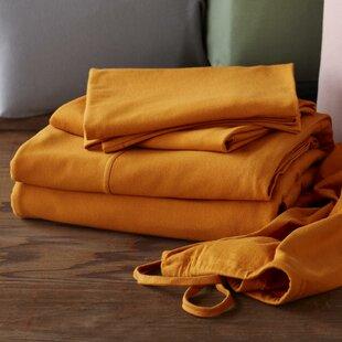 Coyuchi Jersey 4 Piece 100% Cotton Sheet Set