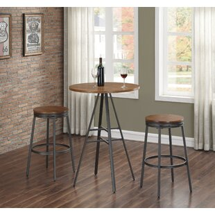 Pierce 3PC Pub Table Set with Backless Swivel Stools Wrought Studio