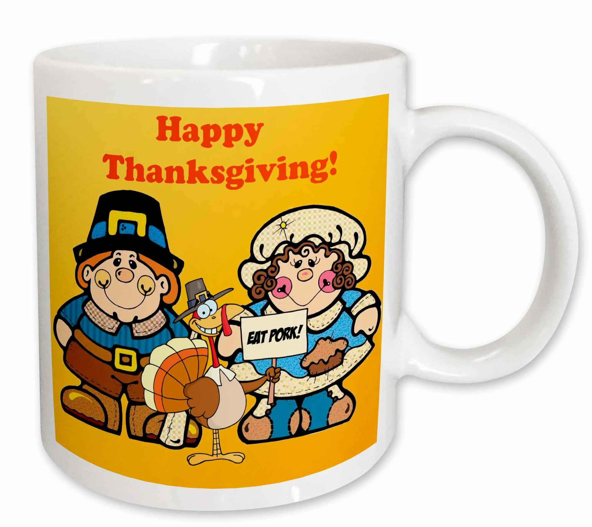 3drose Happy Thanksgiving Pilgrims Coffee Mug Wayfair