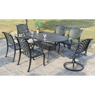 Puentes 7 Piece Dining Set with Sunbrella Cushions by Canora Grey