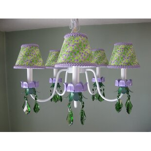 Silly Bear Lighting Lavender Fields 5-Light Shaded Chandelier