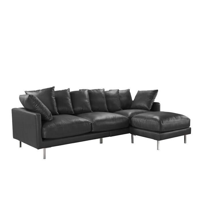 Gaillarde Leather Reversible Modular Sectional with Ottoman