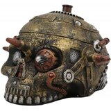 "Williston Forge Steampunk Cyborg Robotic Bullet Barricade Skull Small Decorative Box Figurine 4.5"" L Jewellery Skull Container Trinket Storage Compartment Statue"