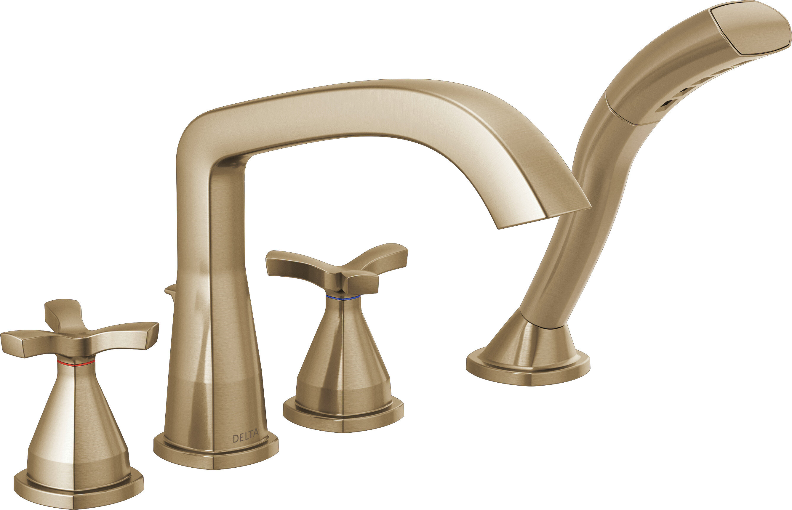 Delta Stryke Double Handle Deck Mounted Roman Tub Faucet Trim With Diverter Wayfair