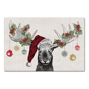 Charmant U0027Christmas Mooseu0027 Graphic Art Print On Canvas