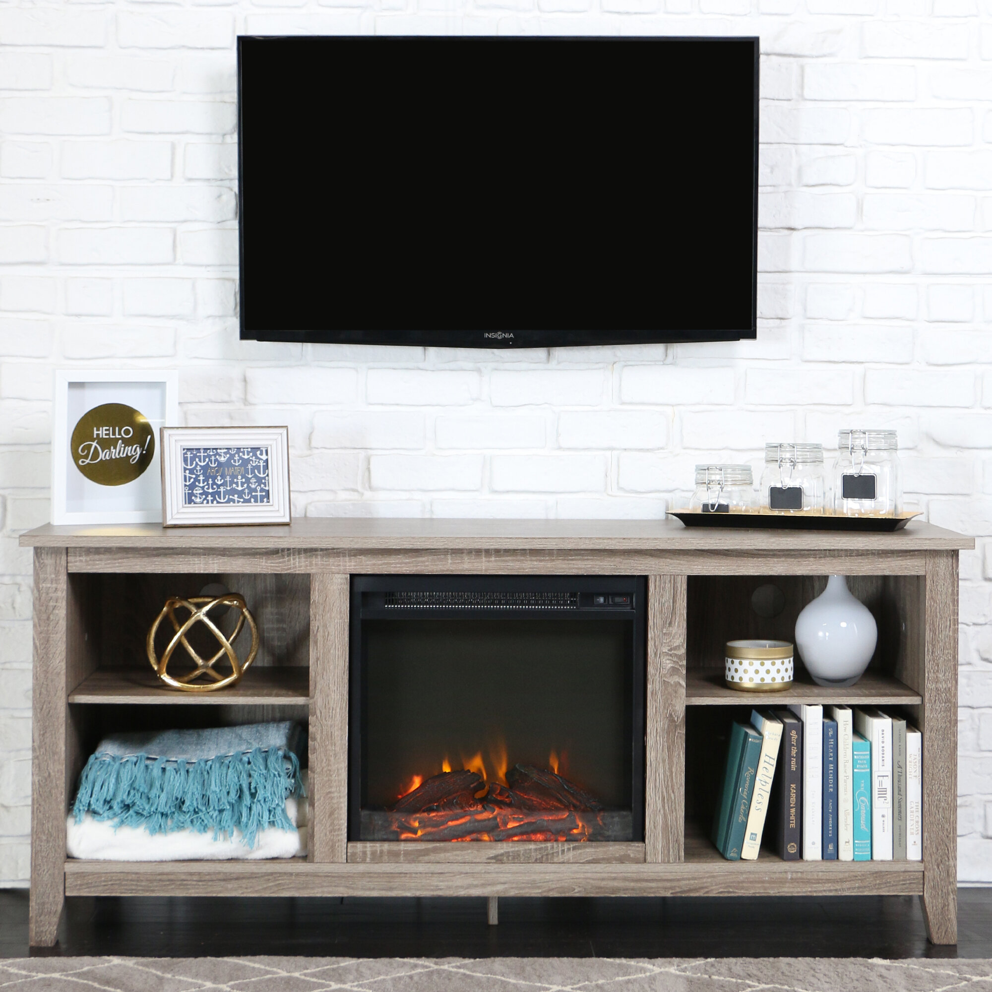 Beachcrest Home Sunbury 58 Tv Stand With Electric Fireplace  # Brick Meuble Tv Avec Foyer