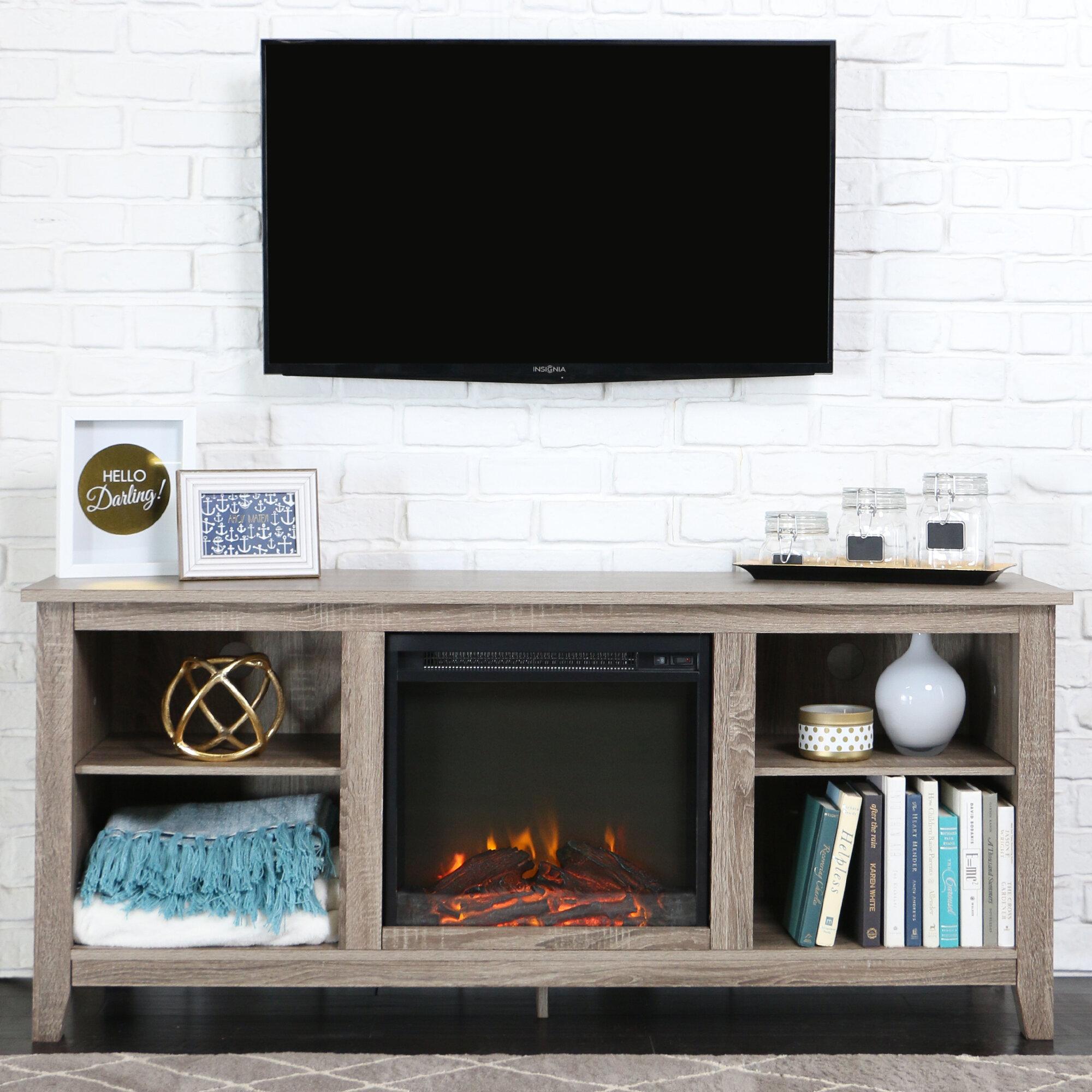 Beachcrest Home Sunbury 58 Tv Stand With Electric Fireplace  # Brick Meuble Tv Avec Foyer