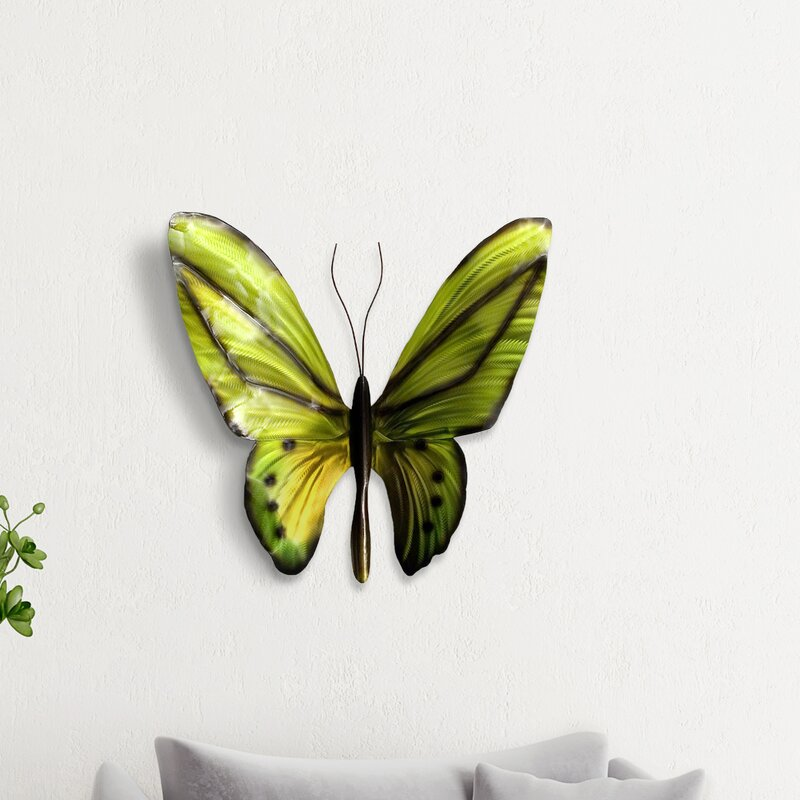 3D Wooden Fluttering Butterflies with Metal Wings Wall Accent Deocor Set of 2