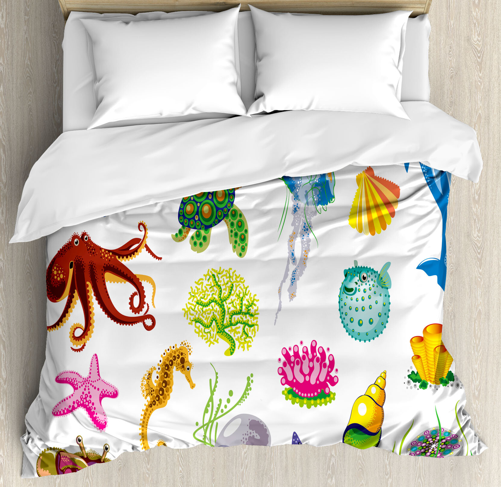 East Urban Home Barwen Marine Sea Animals Octopus Dolphin Shells Stingray Crab Turtle Jellyfish Wildlife Graphic Duvet Cover Set Wayfair